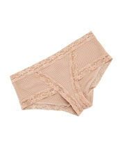 Mod Retro Lace-Trim Briefs, Cafe