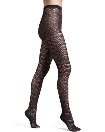 Saphira Open-Chevron Tights, Maroon