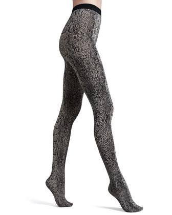 Rattlesnake-Print Opaque Tights, Almodine