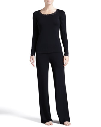 Feathers Long-Sleeve Pajama Set, Black