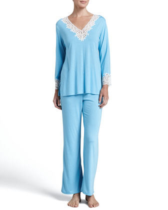 Lhasa Lace-Trim Pajamas