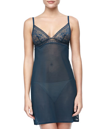 Studio Rosa Sheer Lace-Cup Chemise, Teal
