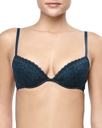 Studio Rosa Floral-Lace Push-Up Plunge Bra