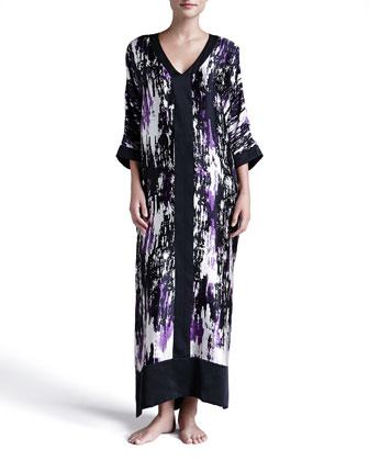Glamour Abstract-Print Silk Caftan