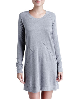Pima Cotton Long-Sleeve Sleepshirt, Dark Gray