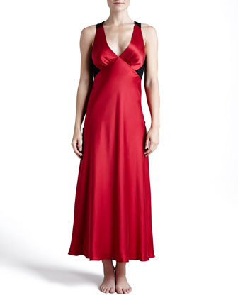 Glamour Silk Long Gown, Cardinal