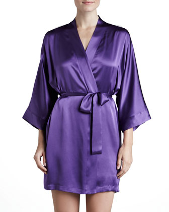 Silk Short Robe, Violet