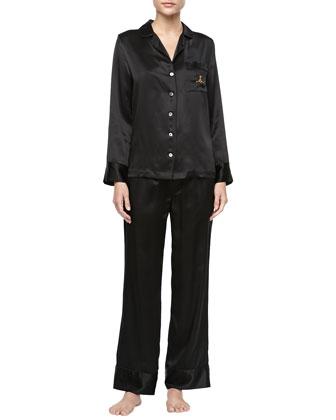 Solid Silk Satin PJ Set & Monogrammed Silk Pajamas, Black