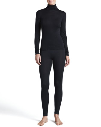 Silk-Cashmere Turtleneck and Long Leggings