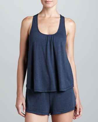 Racerback Tank with Self Bra, Coal Heather