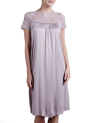 Vivienne Lace-Yoke Short-Sleeve Gown