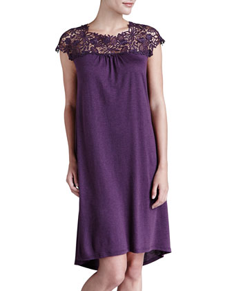 Penelope Lace-Yoke Cotton-Cashmere Gown