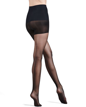 Cabaret Seam Sheer Control-Top Tights, Black