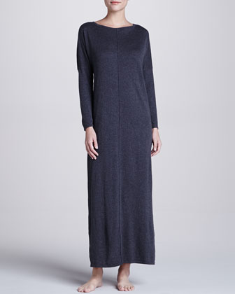 Zana Knit Long Gown, Charcoal