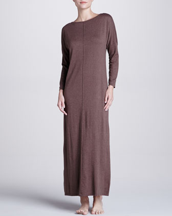 Zana Knit Long Gown, Dark Taupe