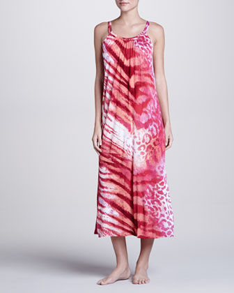Dara Animal-Print Rayon Gown, Passion Pink