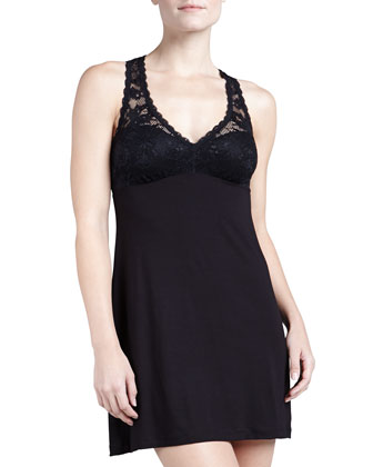 Racie Lace & Jersey Chemise, Black
