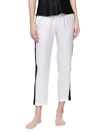 Striped Silk Pants, Black/Warm White