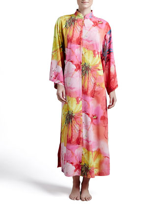 Gala Satin Watercolor Zip Caftan