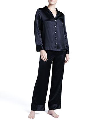 Monogrammed Silk Pajamas, Black