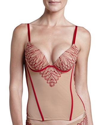 Renata Embroidered Underwire Corset & Brazilian Briefs