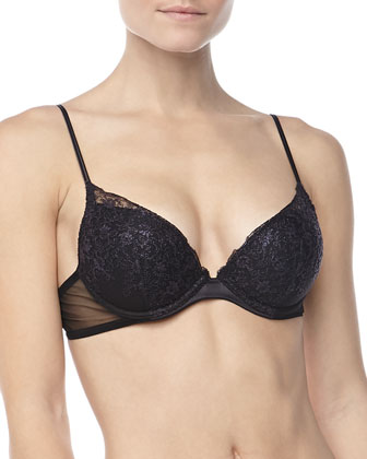 Sparkling Jasmine Push-Up Bra & Thong, Nero