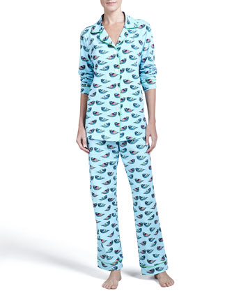 Jewel-Bird-Print Classic Pajamas, Topaz