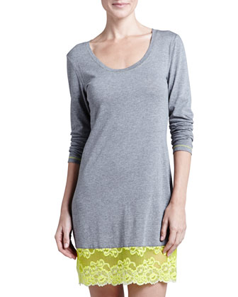 Essential Lace-Hem Sleep Shirt, Heather Gray