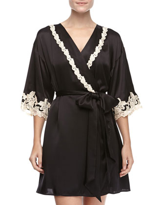 Maison Embroidered Short Robe