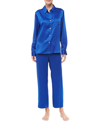 Cassandra Button-Front Charmeuse Pajamas, Blue