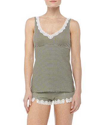 Meera Striped Lace Camisole, Aloe/Ivory
