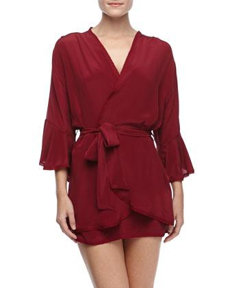 Serenity Silk Lace-Trimmed Short Kimono Robe