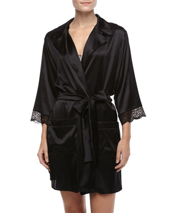 Giverny Boyfriend Silk Half-Sleeve Robe