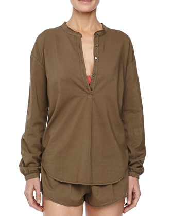 Hadley Poplin Sleep Shirt, Army