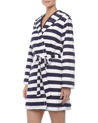 Rugby Stripe Terry Robe, Navy