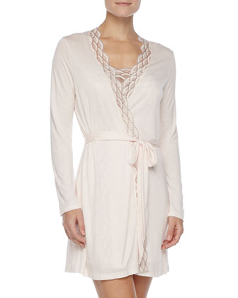 Mabel Embroidered Lace-Trim Robe