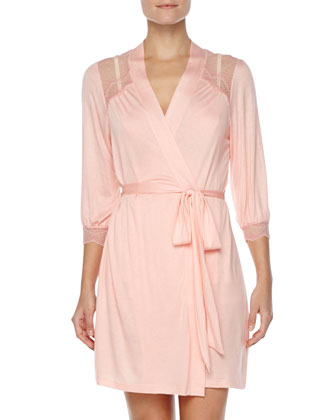 Millie Lace-Yoke Robe, Melon Rose