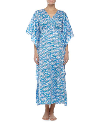 Fleur Long Lounge Caftan, Maritime Blue, Women's