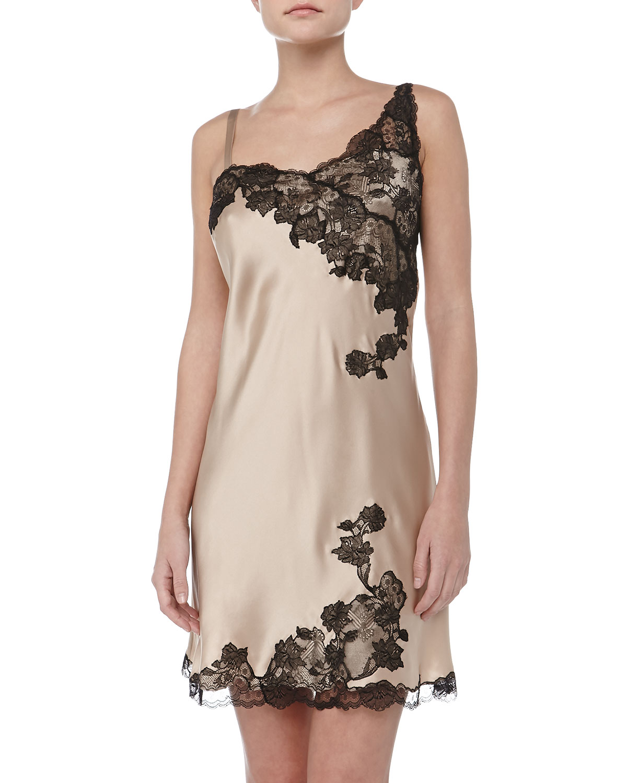 Womens Silk & Lace Chemise   Josie Natori   Nude/Black lace (LARGE/14 16)