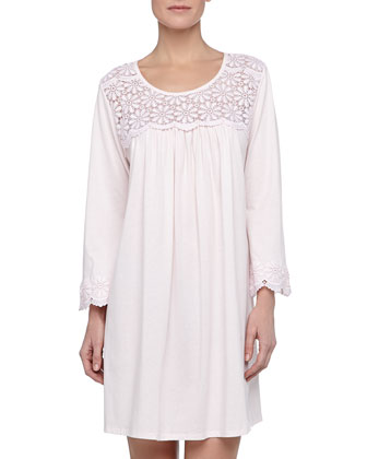 Long-Sleeve Floral-Yoke Short Nightgown
