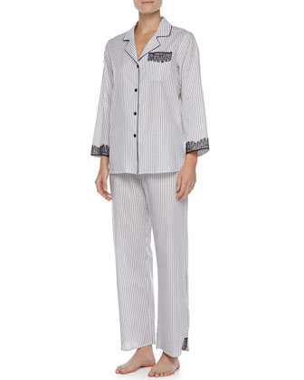 Striped Lace-Trim Pajamas
