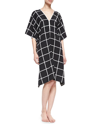 Windowpane-Print V-Neck Lounge Caftan