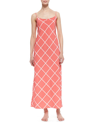 Windowpane Print Gown, Sunset