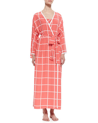 Windowpane Print Long-Sleeve Wrap Robe, Sunset