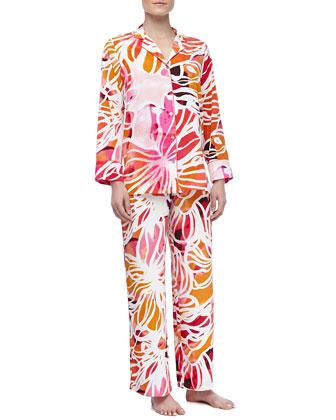 Zelda Crepe de Chine Pajama Set, Pink Lemonade