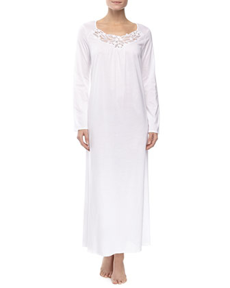 Filipa Long-Sleeve Long Gown, White