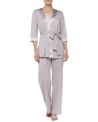 Fernanda Satin-Trim Robe, Rose Gray