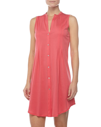 Sleeveless Shirtwaist Nightgown, Pink