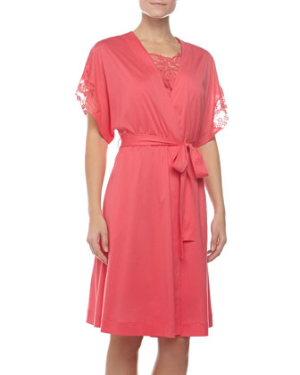 Filipa Embroidered-Sleeve Robe, Paradise Pink
