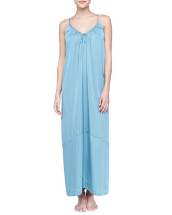 Laundered Long Satin Nightgown, Cerulean Sky